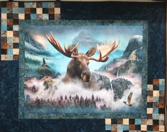 Moose PANEL Quilt Kit featuring Hoffman Digital Call of the Wild Panel + Batiks