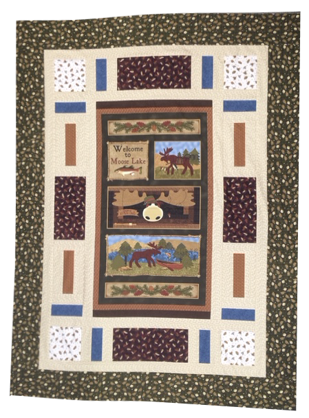 Moose Lake PANEL Quilt Kit 54x72 featuring Moose Lake fabrics by Benartex