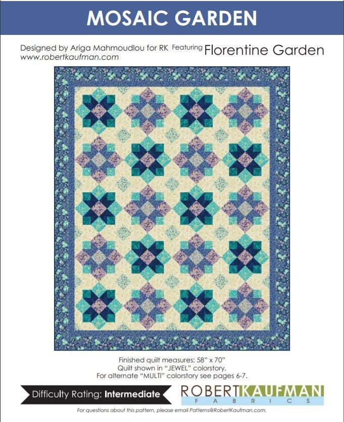 Free Pattern:  Mosaic Garden featuring Florentine Garden by Robert Kaufman