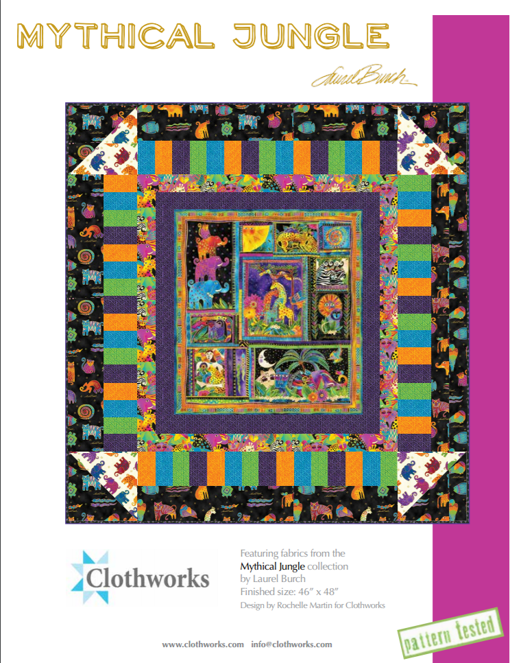 Free Pattern:  Mythical Jungle Quilt Pattern by Laurel Burch for Clothworks