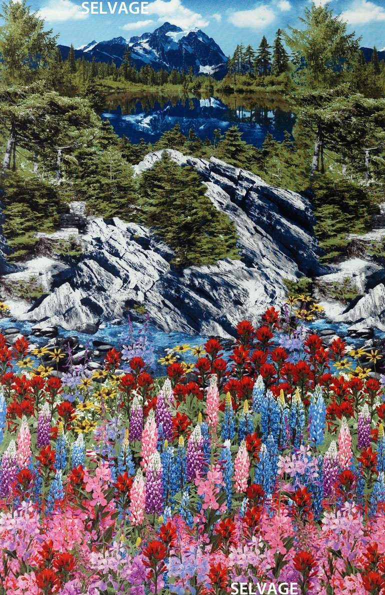 TImeless Treasures Nature C4946 Mountain Scene River Flowers