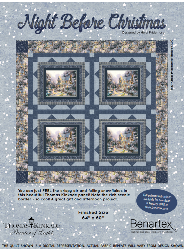 Free Pattern:  Night Before Christmas - by Heidi Pridemore for Thomas Kinkade / Benartex Fabrics