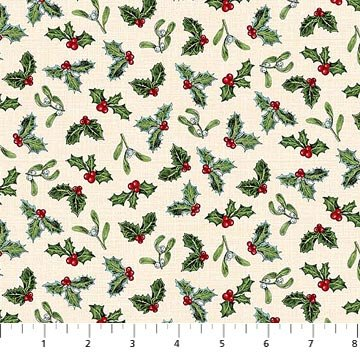 Spruce Mountain 22231 11 Holly on Cream by Northcott