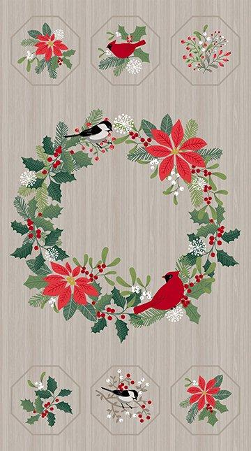 Northcott - Swedish Christmas PANEL 22290 92 Dark Grey