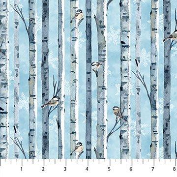 Northcott 23526 42 Christmas Woodland - Birch Bark Stripe