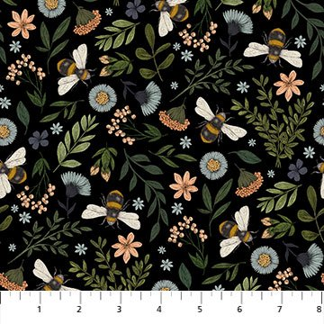Northcott BEE KIND 23785 99 Floral and Bee Toss - Black