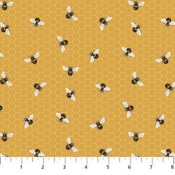 Northcott BEE KIND 23790 53 Honeycomb Bees - Golden Yellow