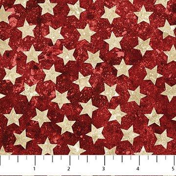 Nortcott Stars and Stripes VII - 39101 24 Patriotic Stars Red Cream
