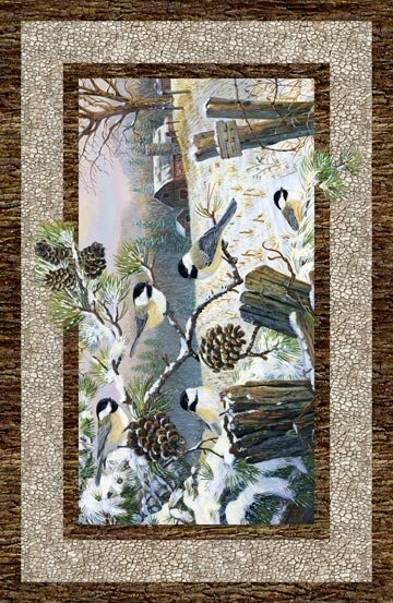 Northcott- Winter Chickadee DP22244-12 Chickadee Pine Cone PANEL