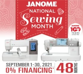National Sewing Month Janome Special finacing