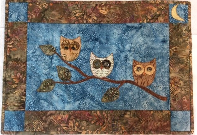 Sample For Sale - Owls With Button Eyes -  Wall Hanging