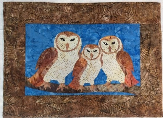 Sample For Sale:  Three Barn Owls With Rhinestone Eyes - Wall Hanging