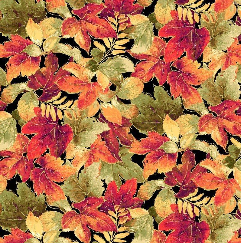 P&B Autumn Spice Metallic Black -00933 Fall Leaves Metallic