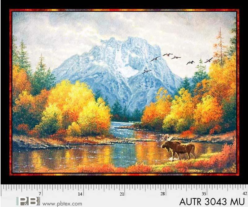 P&B - Autumn Tranquility 29 Digital Moose Scene Panel 3043-Multi by Abraham Hunter