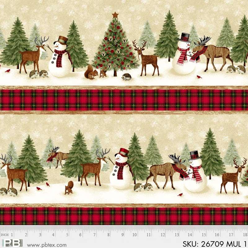 P&B Winter's Friends 26709 Multi Border Stripe Snowman Moose