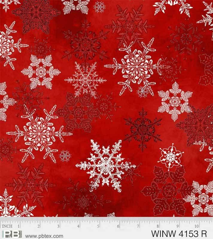 P&B - Winter Wonderland 4153 R Snowflakes Red Background