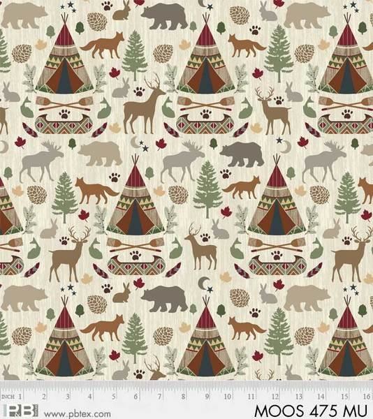 P&B Moose Meadows Flannel 475 Multi TeePee Wildlife
