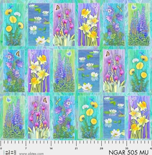 P&B Nature's Garden Digital Fabric: Vignette PANEL 505 Multi