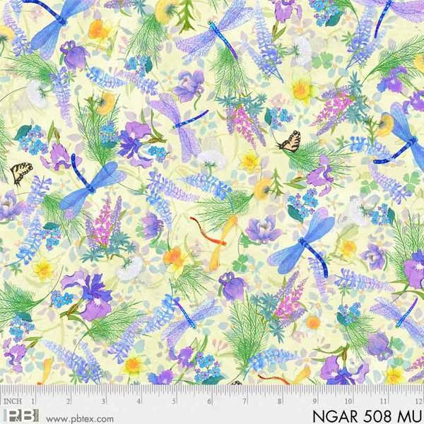 P&B Nature's Garden Digital Fabric: Floral and Dragonfly 508 Multi