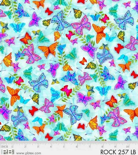 P&B Rock Garden Digital Fabric: 257-LB Butterflies
