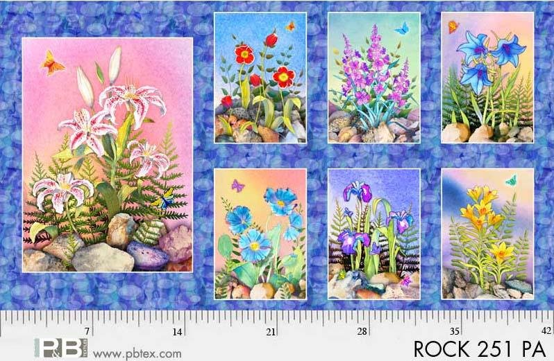 P&B Rock Garden Digital Fabric: PANEL ROCK-251 Rocks & Flowers