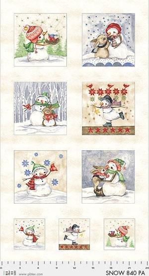 P&B Snowmen Meadow PANEL SNOW840PA Bunny Snowman Cardinal