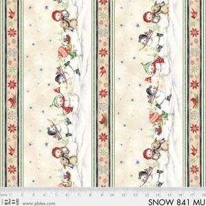 P&B Snowmen Meadow Border Print Stripe 841 Multi