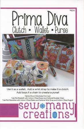 Sew Many Creations -Prima Diva Clutch-Wallet-Purse - use with Diva Frame