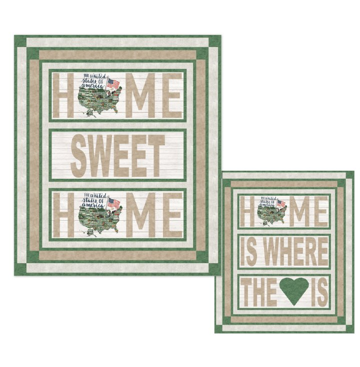 Home Is...  Quilt or Wall Hanging Pattern featuring My Home State Panels
