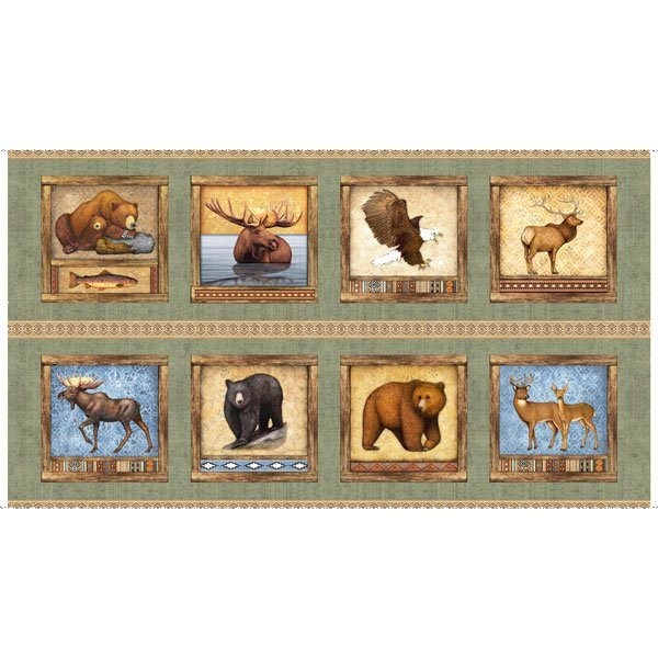 Timberland Trail by Dan Morris - Animal Picture Patches PANEL- Sage 26804 H