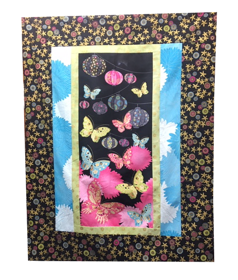 For Sale:  Quilt Top with Chinese Lanterns and Butterflies 36x48