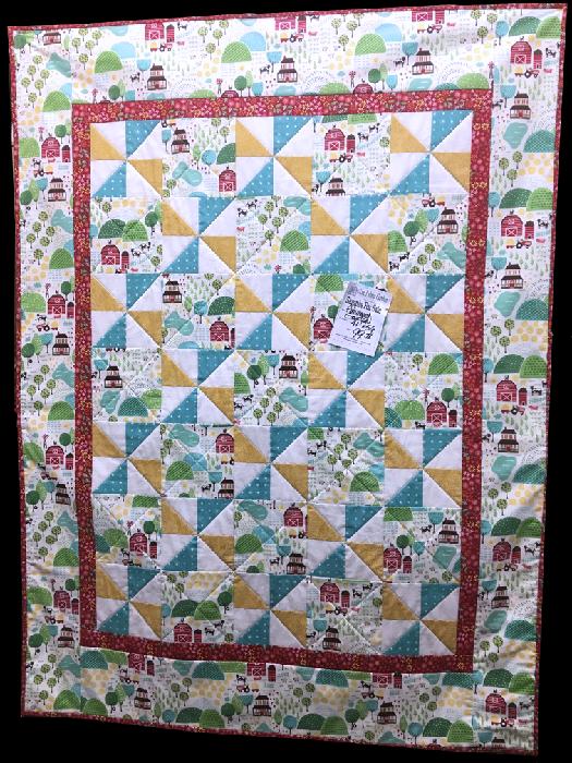 Quilt For Sale:  Farmhouse Quilt featuring Farm Fun Milk fabrics by Moda 41x56