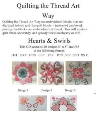 Embroidery CD - Quilting The Thread Art Way - Hearts and Swirls