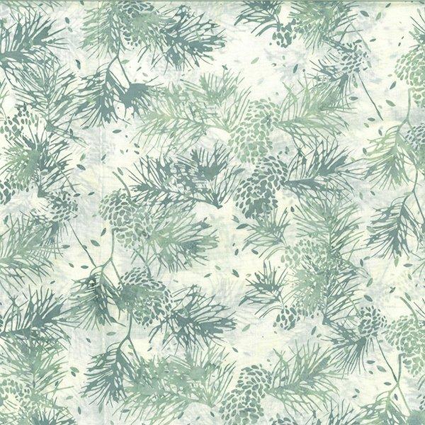 Hoffman Bali Batik: R2205 288 Pine Cone - Pine Needles - Clouds