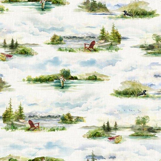 Hoffman FLY HOME R4642-311 Lake - Fly Fishing Digitally Printed Fabric
