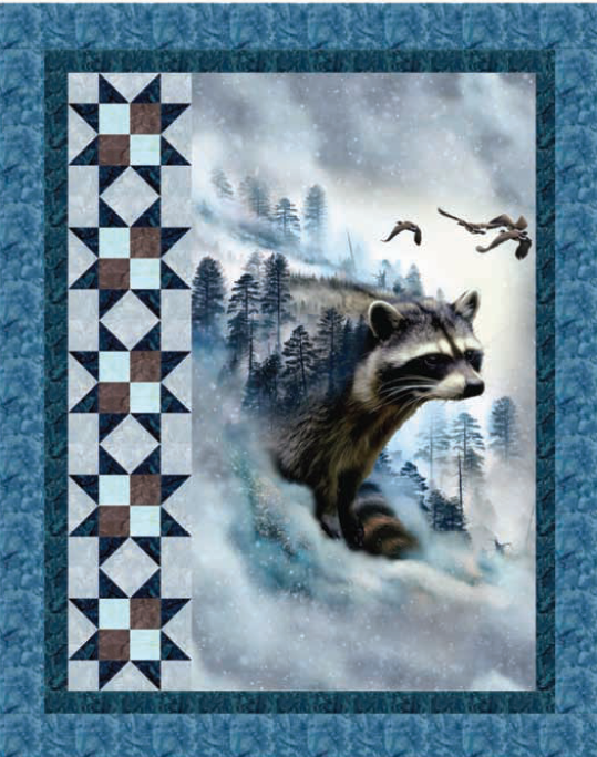 Free Pattern:  Hoffman Digital Prints:  Raccoon Ravine