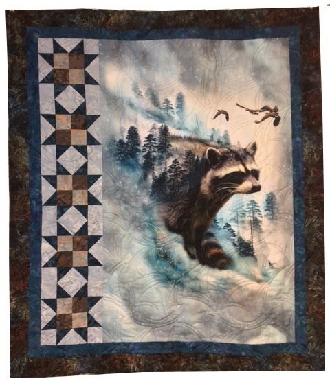 Raccoon Ravine Quilt Kit | Featuring Hoffman Fabrics Call of The Wild Digital Spectrum Panel