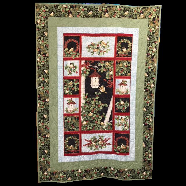 Festive Chickadee Birdhouse Quilt Kit