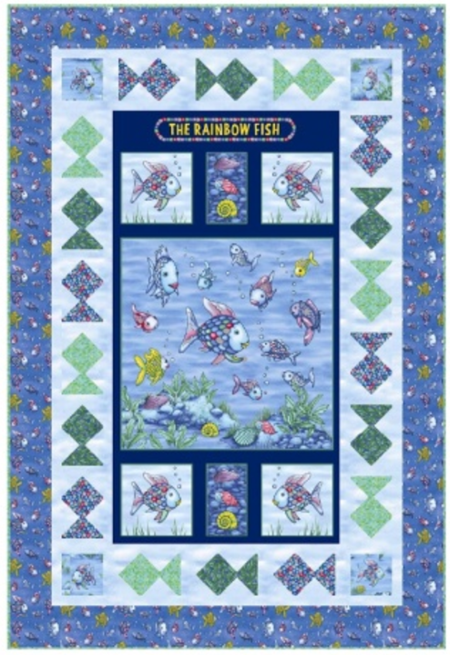 Rainbow Fish Panel Quilt Kit | Marcus Fabrics | 42 by 62