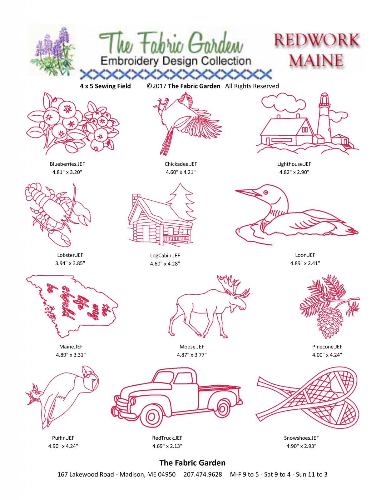 Maine Themed Redwork Embroidery CD - 12 Designs - JEF Format