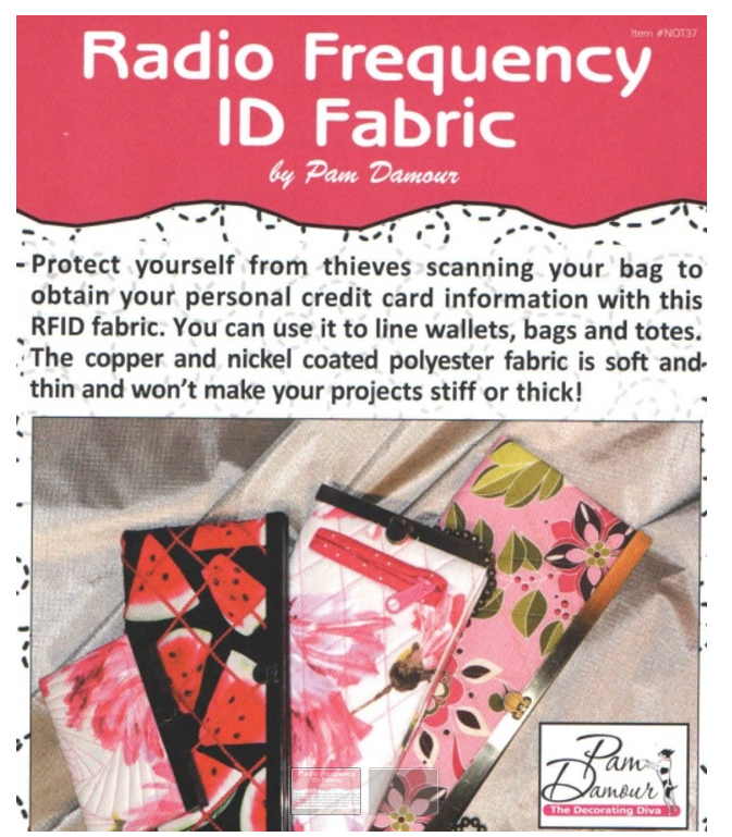 RFID Fabric (Radio Frequency ID Fabric) - protect credit cards from thieves
