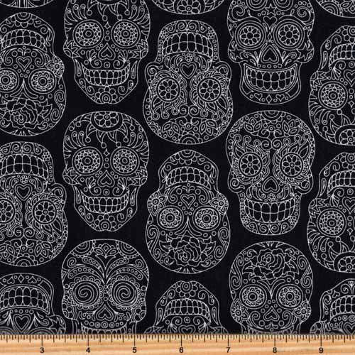 RJR Fabrics Fiesta Skull Fabric Black & White 2022-2