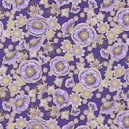 Robert Kaufman Florentine Garden AHYM 19449 6 Purple Blossoms