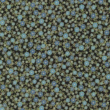 Robert Kaufman Florentine Garden AHYM 19452 4 Blue Flowers