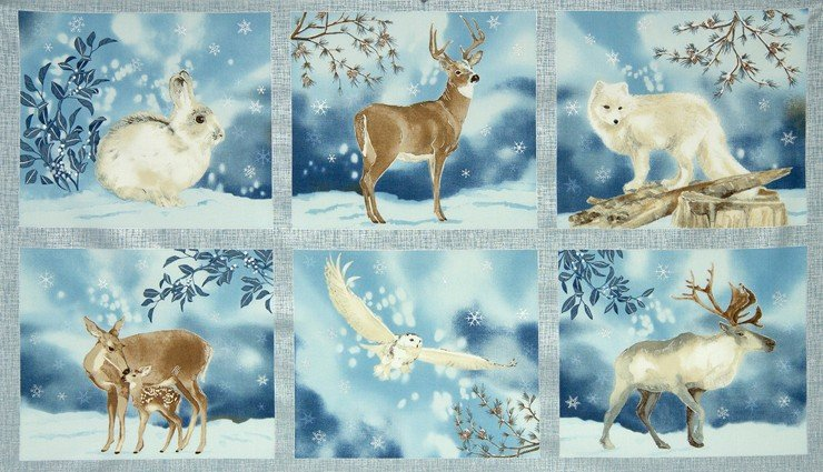 Robert Kaufman AWHM-15155-254 Frost Panel Owl Deer Elk Fox