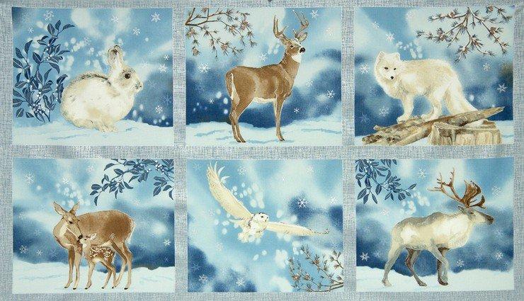 Robert Kaufman AWHM-15155-254 Frost Panel Owl Deer Elk Fox