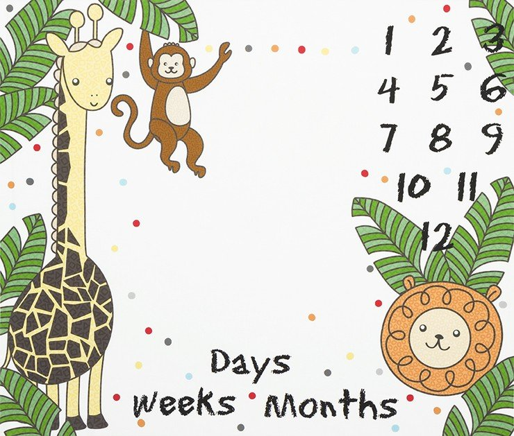 Baby Growth Milestone Mat - Robert Kaufman OH HOW THEY GROW 36in Panel SRKD 18949 1 Jungle Animals