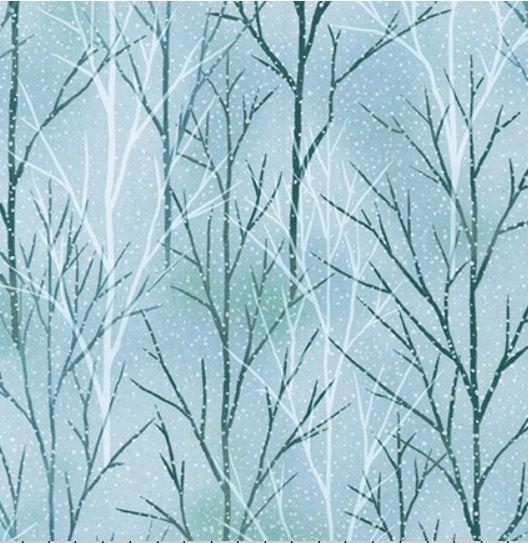 Robert Kaufman A WALK ON THE PATH Metallic Trees SRKM 19107 245 Mist
