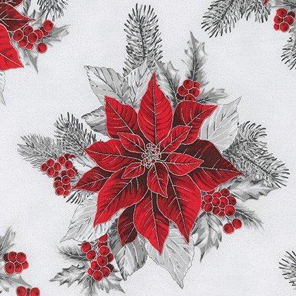 Robert Kaufman - Holiday Flourish 13 SILVER SRKM 19257 186 Poinsettia