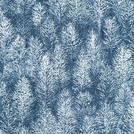 Robert Kaufman FIRST SNOW Evening Pine Trees Metallic SRKM 19268 80